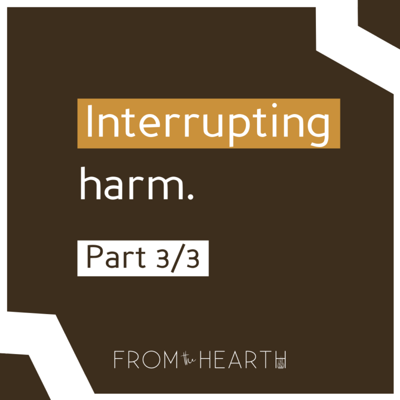 """""""Interrupting harm. Part 3/3"""" with a logo at the bottom that reads """"From The Hearth."""""""