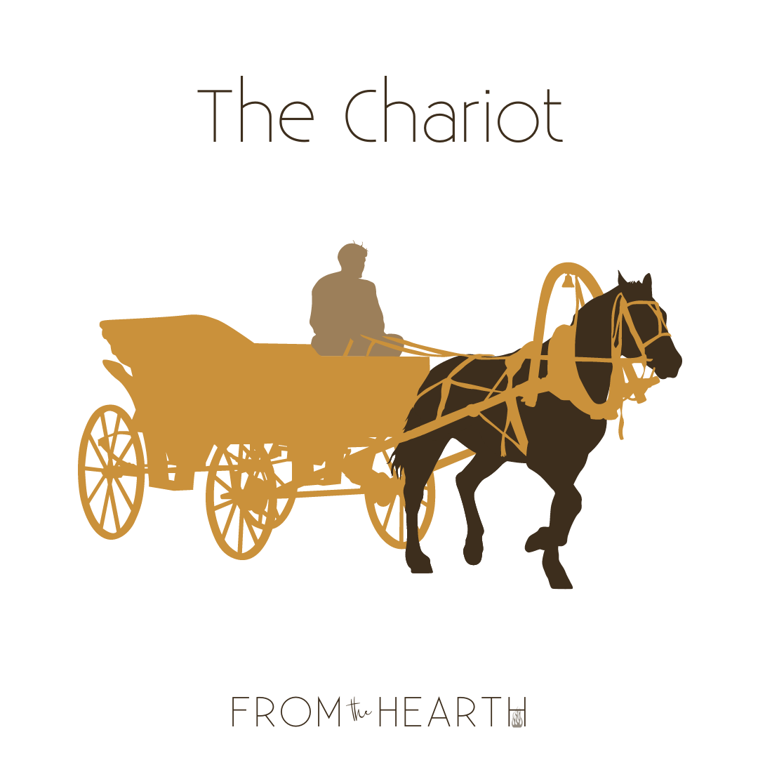 A graphic of a light gold chariot with a dark brown horse and a light brown person holding the reins.