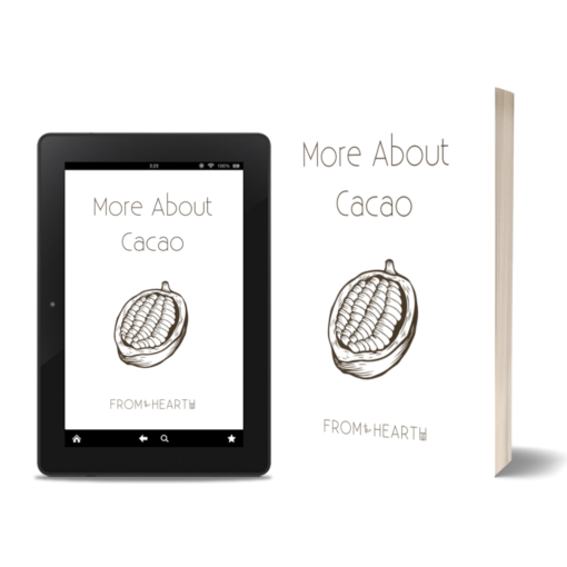"""A tablet and a book showing a book cover that reads, """"More About Cacao."""""""