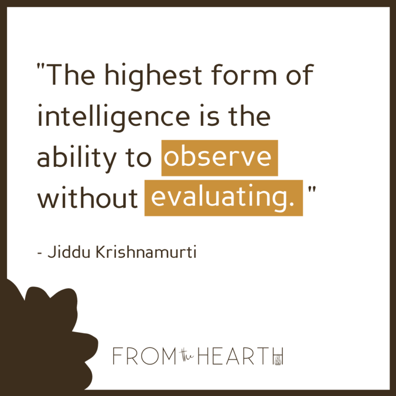 """""""The highest form of intelligence is the ability to observe without evaluating. - Jiddu Krishnamurti."""" A logo centered at the bottom that reads """"From The Hearth."""""""