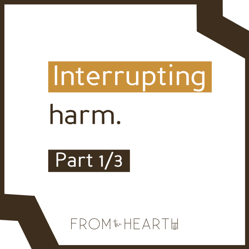 """""""Interrupting harm. Part 1/3"""" with a logo at the bottom that reads """"From The Hearth."""""""