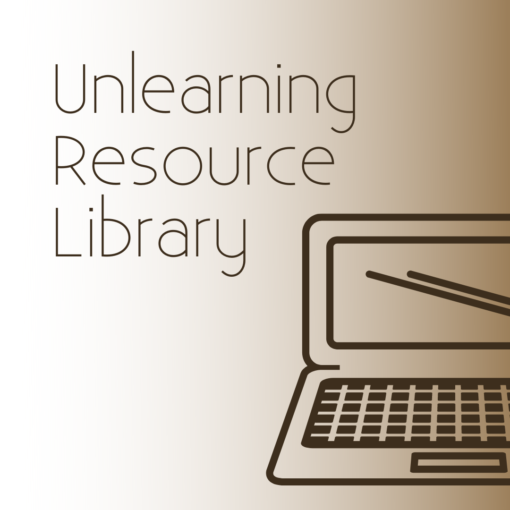 """""""Unlearning Resource Library"""" with a graphic of a laptop computer."""