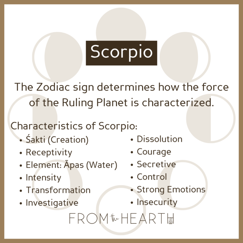 """""""Scorpio. The Zodiac sign determines how the force of the Ruling Planet is characterized. Characteristics of Scorpio: Śakti (Creation), Receptivity, Element: Āpas (Water), Intensity, Transformation, Investigative, Dissolution, Courage, Secretive, Control, Strong Emotions, Insecurity."""""""