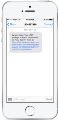 A white iPhone with a conversation bubble outlining a tracking update.