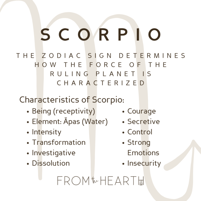 """""""Scorpio. The Zodiac sign determines how the force of the Ruling Planet is characterized. Characteristics of Scorpio: Being (receptivity), Element: Āpas (Water), Intensity, Transformation, Investigative, Dissolution, Courage, Secretive, Control, Strong Emotions, Insecurity."""""""